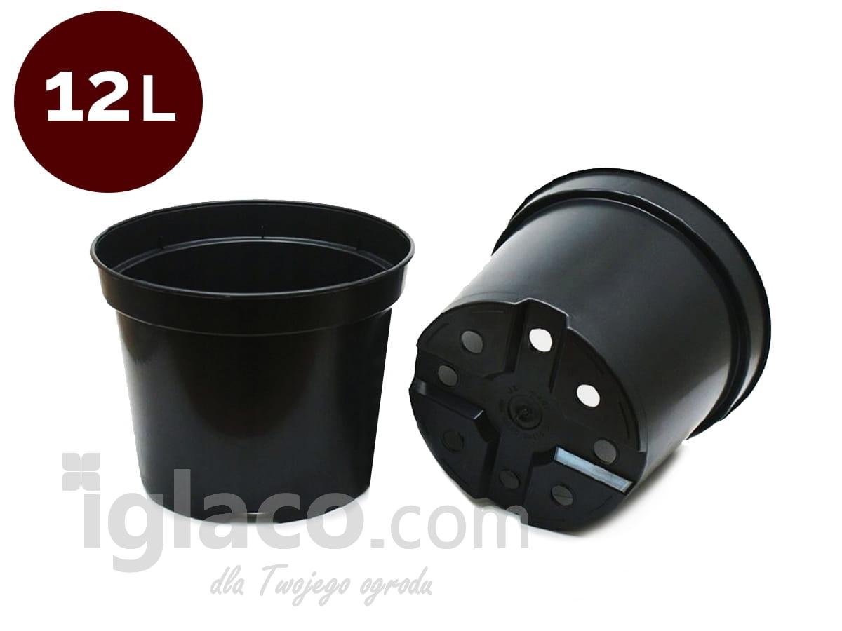 Doniczka Okrągła Fi 30 Cm 12 L Czarna