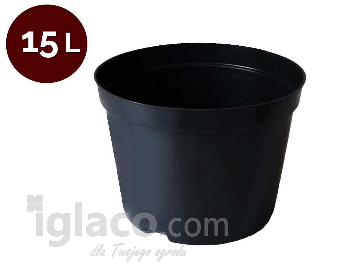 Doniczka Okrągła Fi 33 Cm 15 L Czarna