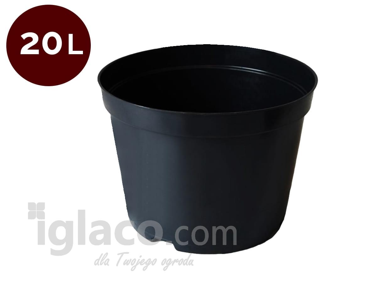Doniczka Okrągła Fi 37 Cm 20 L Czarna
